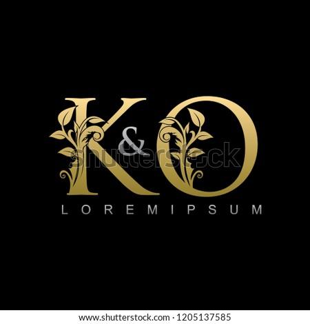 K&O Gold Letter logo With Classy Floral Leaf Design