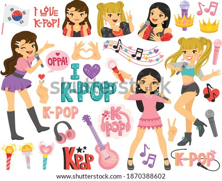 k pop and korean idols clipart