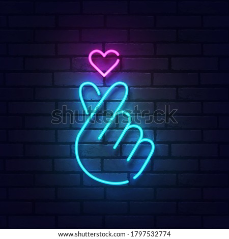 K-POP neon sign. Sign of Finger Heart with colorful neon lights isolated on brick wall. Vector illustration