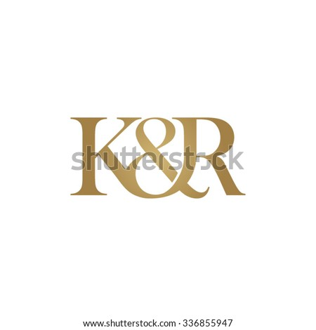 K&R Initial logo. Ampersand monogram golden logo Stock fotó ©