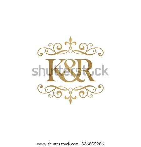 K&R Initial logo. Ornament ampersand monogram golden logo Stock fotó ©