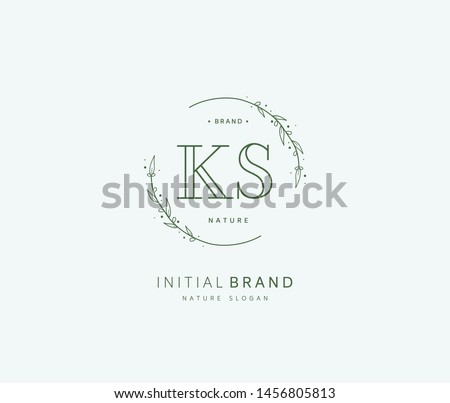 K S KS Beauty vector initial logo, handwriting logo of initial signature, wedding, fashion, jewerly, boutique, floral and botanical with creative template for any company or business. Stock fotó ©