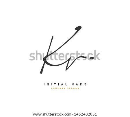 K V KV Beauty vector initial logo, handwriting logo of initial signature, wedding, fashion, jewerly, boutique, floral and botanical with creative template for any company or business. Stock fotó ©