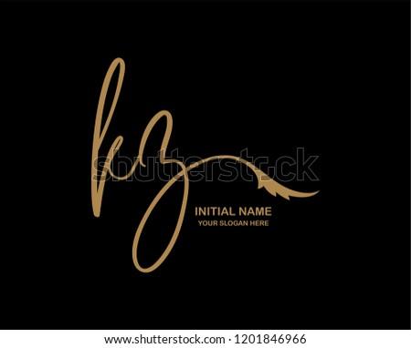 K Z Initial Handwriting Logo Template Stok fotoğraf ©