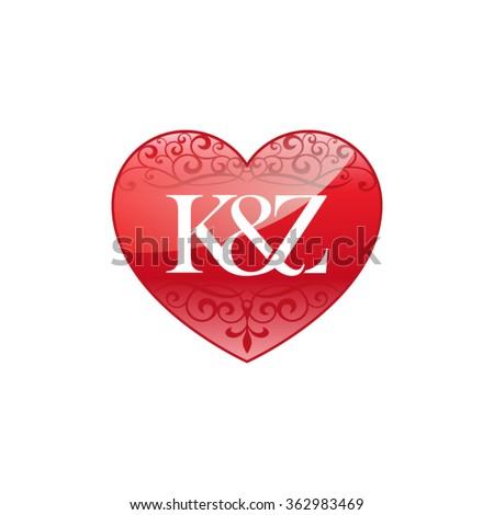 K&Z initial letter couple logo with ornament heart shape Stok fotoğraf ©