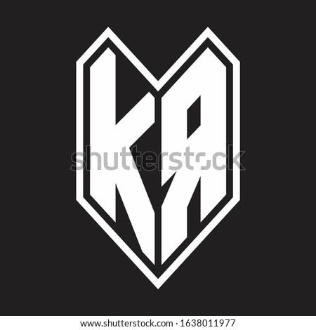 KA Logo monogram with emblem line style isolated on black background Stock fotó ©