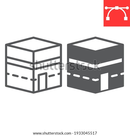 Kaaba Mecca line and glyph icon, happy ramadan and makkah, Mecca building vector icon, vector graphics, editable stroke outline sign, eps 10