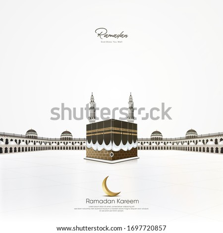 Kaaba Vector and  domes on the roof top of the Grand Mosque of Mecca in Saudi Arabia With minaret - Masjid Al Haram