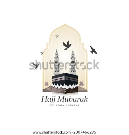 Kaaba vector and minarets on Islamic shape design for hajj and Eid Adha Mubarak