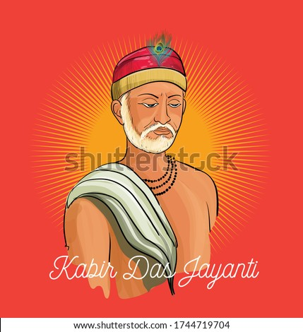 Kabir Das Jayanti a birth anniversary of Indian Poet from 15th Century illustration vector Stock foto ©