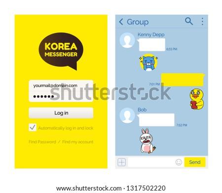 Kakao talk messenger Korean application for users vector. Internet technology for people to speak, communication via internet smartphone mobile app