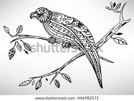 kakapo hand drawn with ethnic