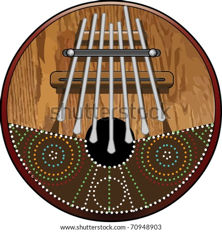 Kalimba 7 note, African Instrument (native and tribal) made of wood and Coconut with seven pieces of Steel Vector illustration