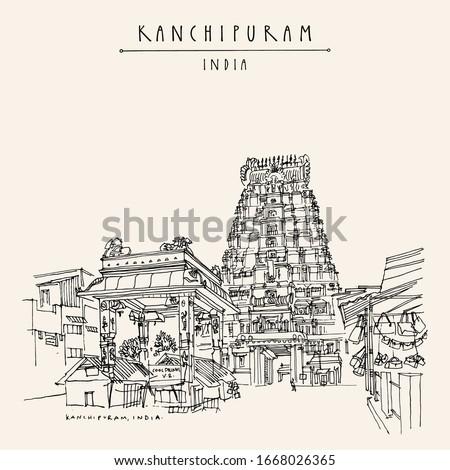 Kanchipuram (Kanchi), Tamil Nadu, South India. Market at Ekambeshwarar (Ekambaranatha) Temple. Hindu religion sacred place. Travel sketch drawing. Vintage hand drawn touristic postcard, poster. Vector Zdjęcia stock ©