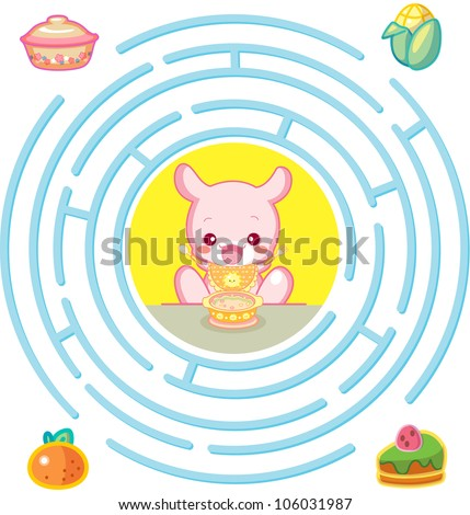Kangaroo and foods : round maze Game with Solution, vector illustration