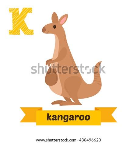 kangaroo k letter cute