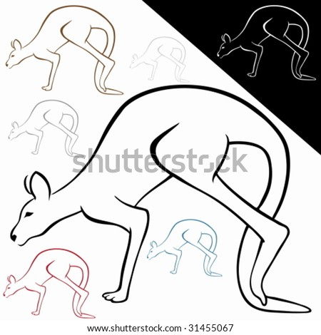 Kangaroo Line Art : Wild animal drawing in a pen and ink style with color options.