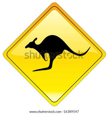 Kangaroo traffic warning sign (us style) - vector file