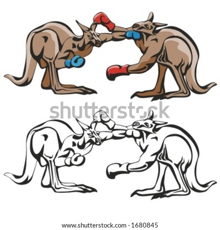 Kangaroos Boxing Mascot for sport teams. Great for t-shirt designs, school mascot logo and any other design work. Ready for vinyl cutting.