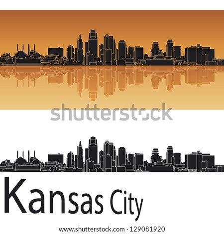 Kansas City skyline in orange background in editable vector file