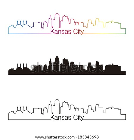 Kansas City skyline linear style with rainbow in editable vector file