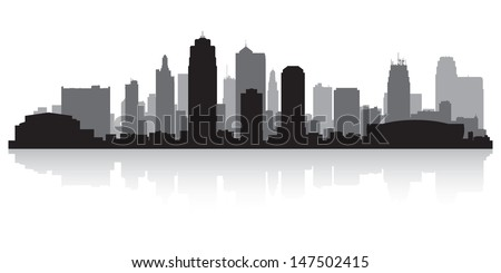 Kansas city USA skyline silhouette vector illustration