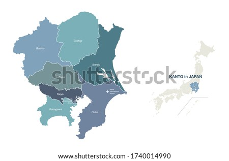 kanto map. tokyo in japan region vector map. Stock fotó ©