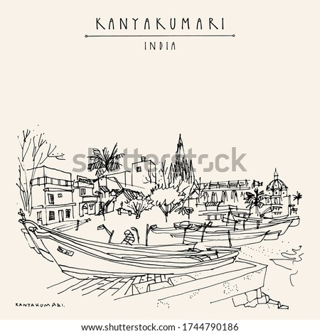 Kanyakumari, Tamil Nadu, South India. The southernmost point of India. Cityscape with fishing boats and a church. Vintage hand drawn touristic postcard. Vector Zdjęcia stock ©