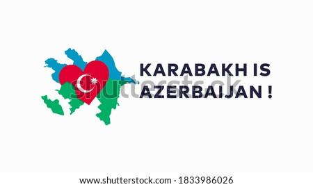 Karabakh is Azerbaijan vector design. Azerbaijan flag and map