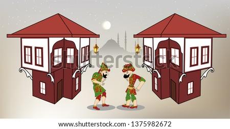 Karagoz and hacivat ramadan shadow game islamic ramadan kareem gölge oyunu hacivat karagöz puppet ramadan mubarak ottoman ramadan lamp mosque osmanlı