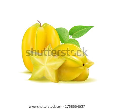 Karambola (star fruit) with slices and leaves on a white background. Realistic vector illustration, 3d Сток-фото ©
