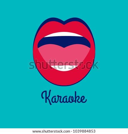 Karaoke bar. Female open mouth, singer singing song, show, conert in nigh tclub, poster element. Vector illustration