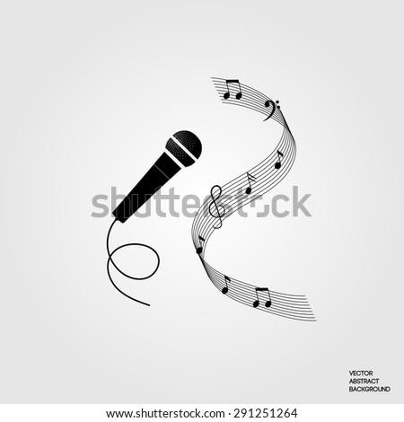 karaoke club. Karaoke bar. Karaoke party. Microphone. Music. Notes. Symbol  Karaoke. Monochrome vector illustration
