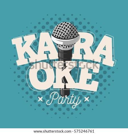 karaoke label sign design with