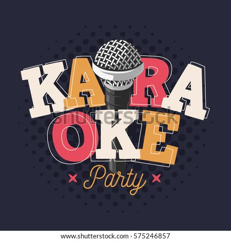 karaoke label sign design with