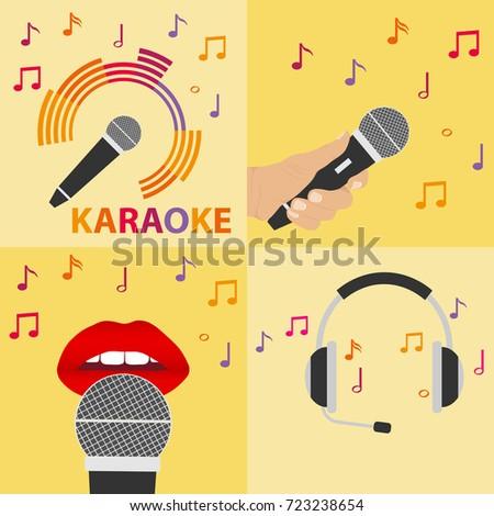 Karaoke microphone, microphone in hand, headphones. Flat design, vector illustration, vector.