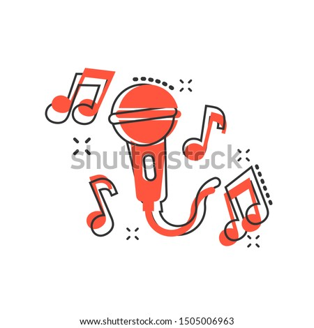Karaoke music icon in comic style. Microphone speech vector cartoon illustration on white isolated background. Audio equipment business concept splash effect.