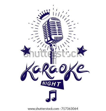 Karaoke night and nightclub discotheque vector invitation poster created with stage or recorder microphone and musical notes.