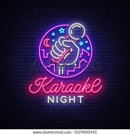 Karaoke night vector. Neon sign, luminous logo, symbol, light banner. Advertising bright night karaoke bar, party, disco bar, night club. Live music. Design template