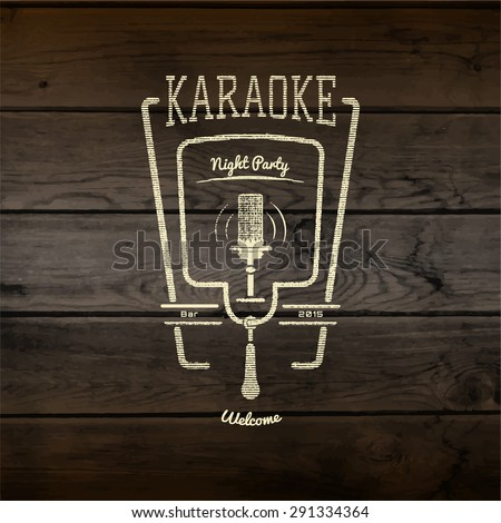Karaoke party badges logos and labels for any use in your design, such as presentations. On wooden texture