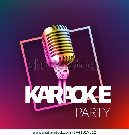 Karaoke party banner layout. Vector card template