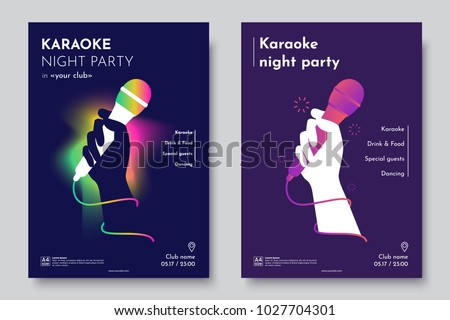Karaoke party invitation flyer template. Silhouette of Hand with microphone on an abstract dark background. Concept for a night club advertising company. Creative invite poster. Vector eps 10