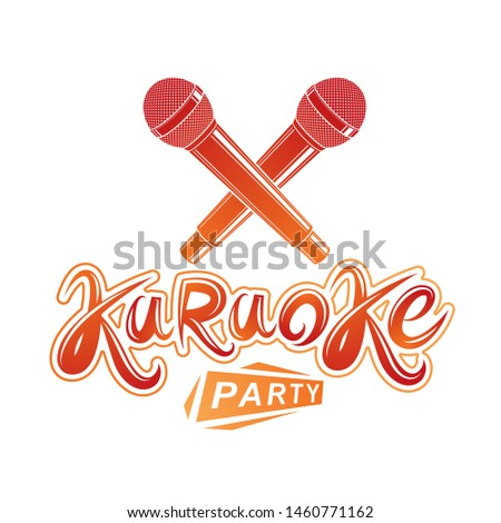 Karaoke party lettering, rap battle vector emblem created using two crossed microphones audio equipment.