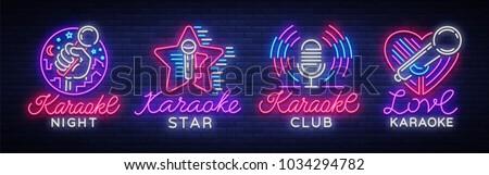 karaoke set of neon signs