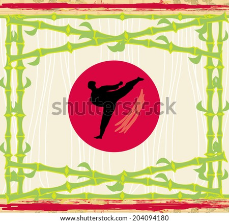 karate - abstract card, bamboo frame