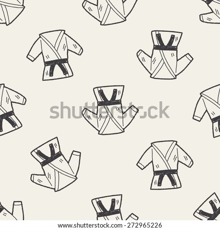 karate doodle seamless pattern background