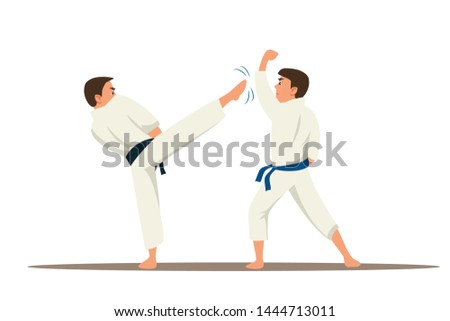 Karate fighters flat vector characters. Asian traditional martial arts championship. Sportsmen in kimono fighting and practicing isolated clipart. Judo, taekwondo competition cartoon illustration