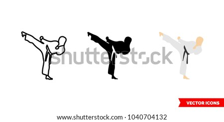 Karate icon of 3 types: color, black and white, outline. Isolated vector sign symbol.