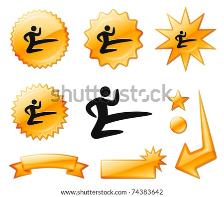 Karate Icon on Orange Burst Banners and Medals Original Vector Illustration