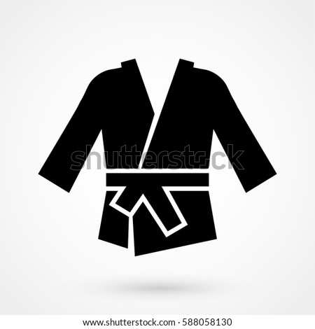 karate kimono icon in a flat design in black color. Vector illustration